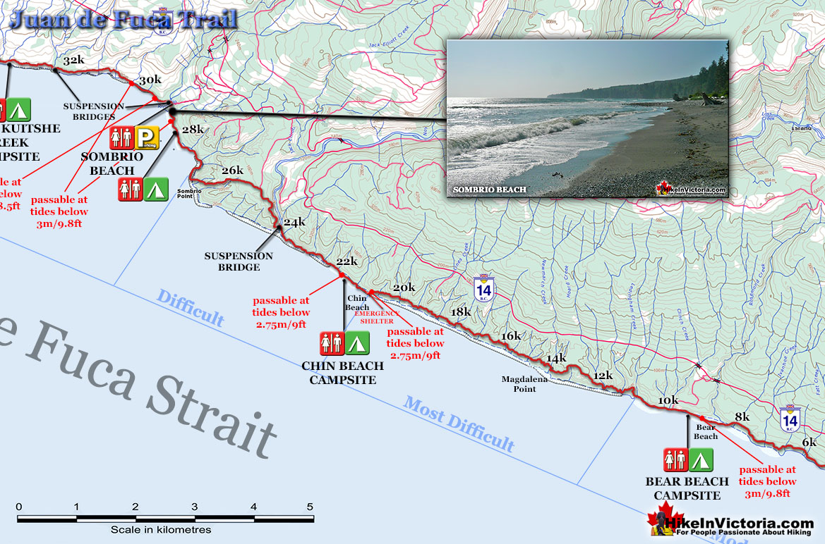 Juan de Fuca Trail Map Bear to Sombrio