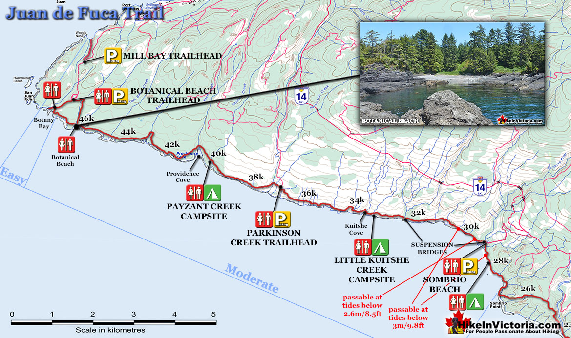 Juan de Fuca Trail Map Sombrio to Botanical