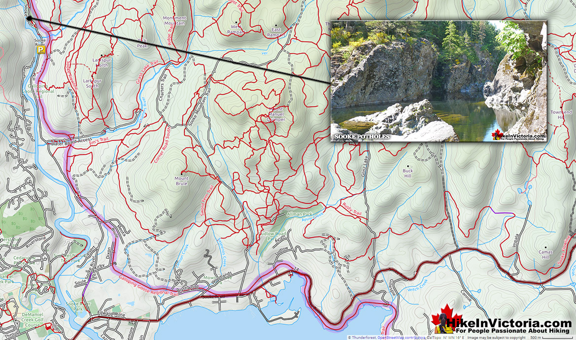 Sooke Potholes Directions Map